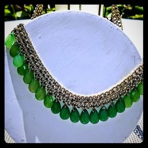 Vintage green teardrop and gold necklace